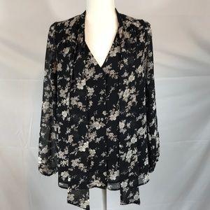Daniel Rainn- Floral tie neck, sheer sleeve blouse